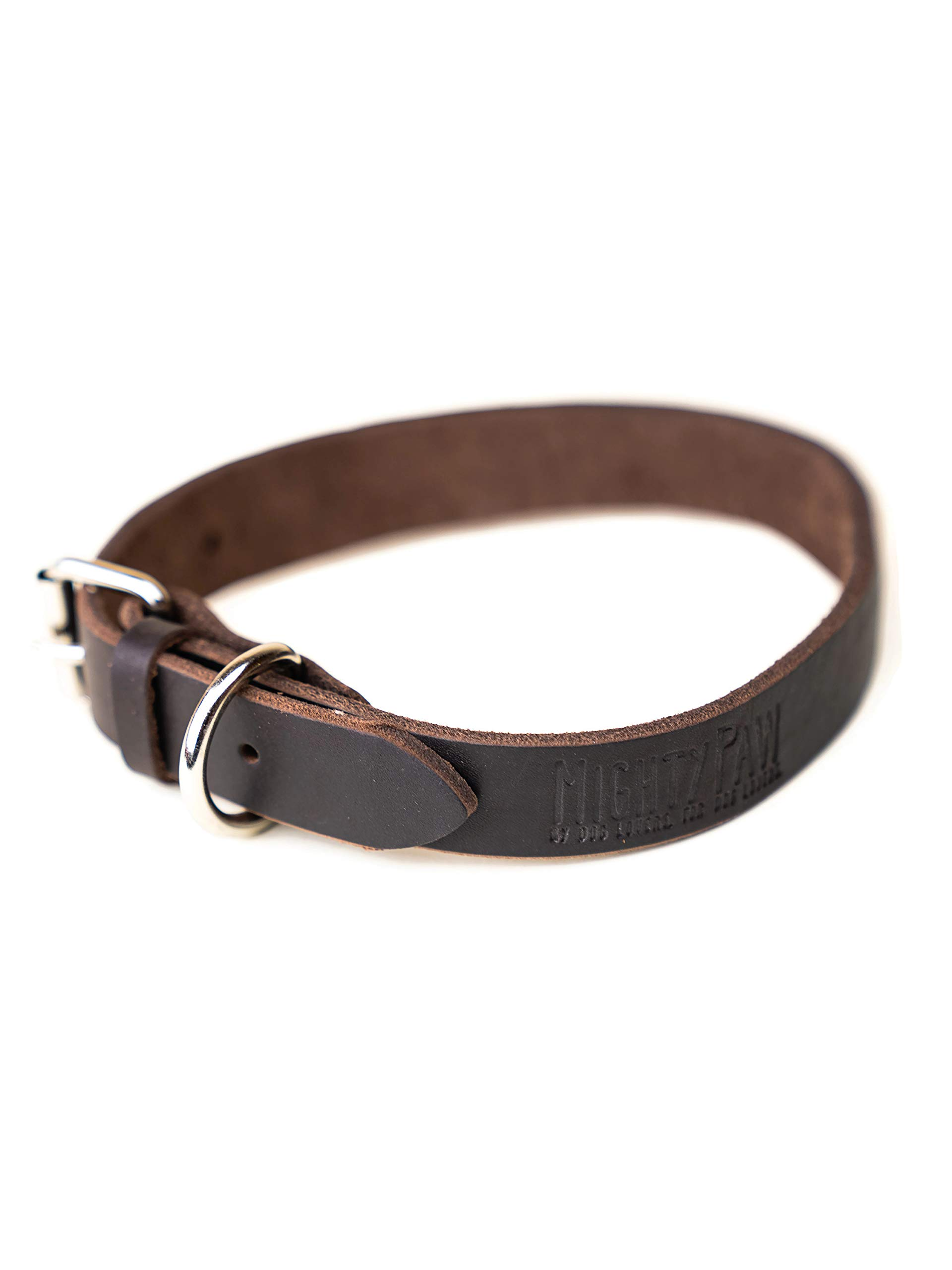 Mighty Paw Leather Dog Collar, Super Soft Distressed Leather- Premium Quality, Modern Stylish Look by Mighty Paw