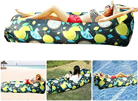 Bangcool Sofa Hinchable con Paquete Portátil,Impermeable Sofa Inflable Camping,Sofá De Aire Tumbona Hinchable Sofa Hinchable Playa Y Bolso Portatil para Viajes, Piscina, Camping(Amarillo)