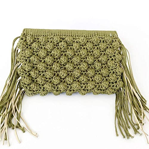 Amazon Women Handmade Green Crochet Clutch With Fringes