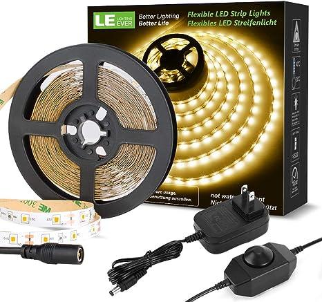 LE 5M LED Strip Lights Kit 300 SMD 2835 LEDs Ribbon with Power Supply...