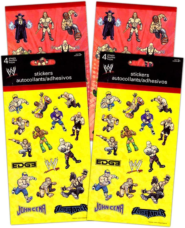 WWE Stickers Party Favor Pack (124 World Wrestling Entertainment Stickers)