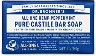 product image for Dr. Bronner's - Pure-Castile Bar Soap (Peppermint, 5 ounce) - Made with Organic Oils, For Face, Body and Hair, Gentle and Moisturizing, Biodegradable, Vegan, Cruelty-free, Non-GMO