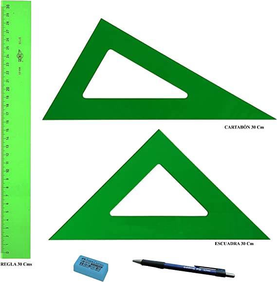 PACK LOTE Faibo Técnico - Regla verde 30 Cm + Escuadra Verde 30 Cm + Cartabón 30 Cm + REGALO 1 Portaminas Edding P12 mina 0,7mm y 1 Goma de borrar Faber