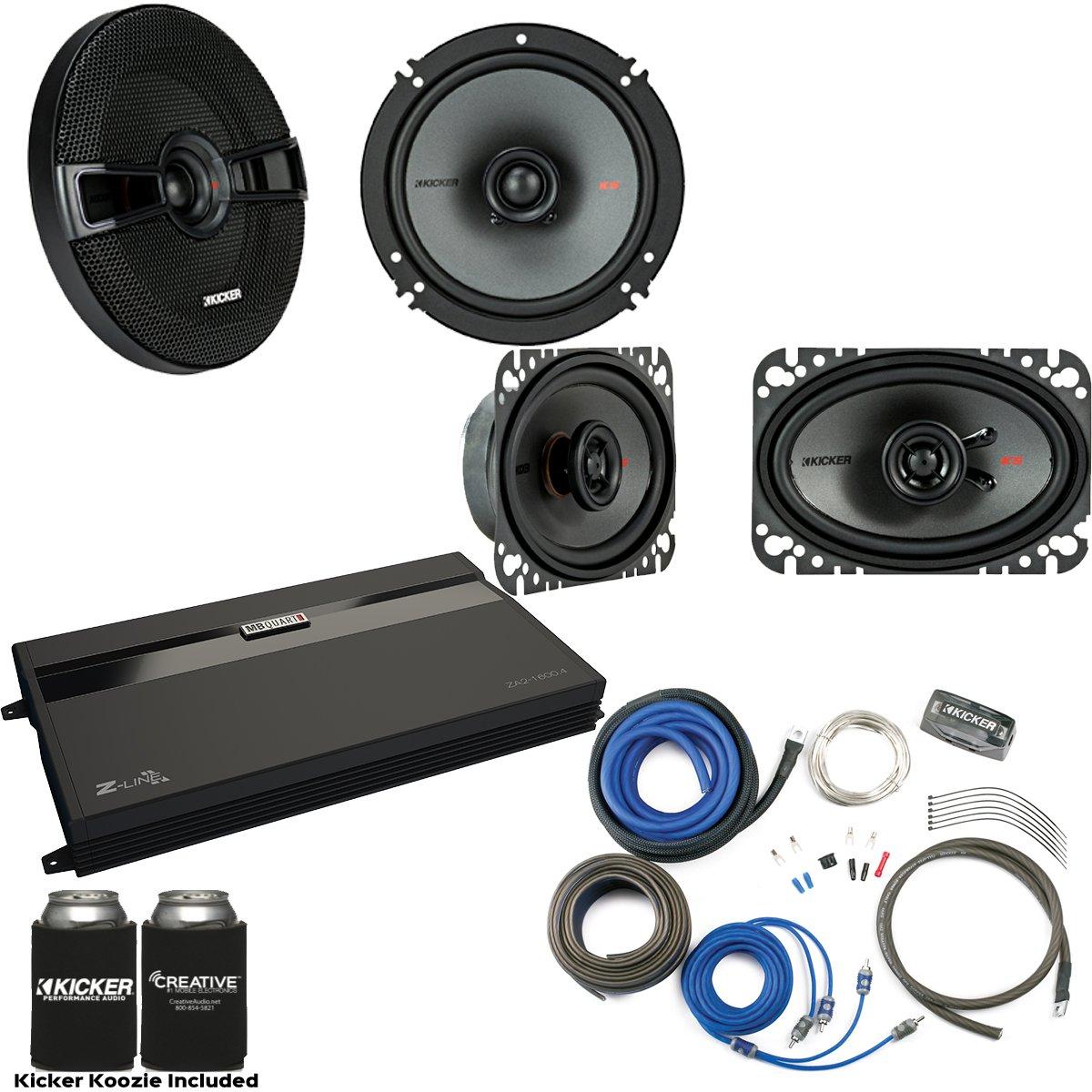 Kicker 44KSC6504 6.5'' Coaxial Speakers, 44KSC4604 4x6'' Speakers. MB Quart ZA2-1600.4 4-Channel Amp & Wire Kit