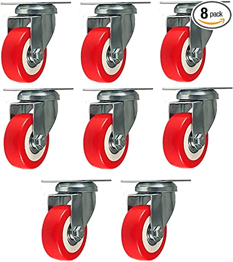 8 Pack 4 Inch Caster Swivel Plate On Red Polyurethane Wheels PU