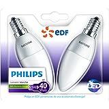 Philips Lot de 2 Ampoules LED Flamme Culot E14 (Petite Vis) 5,5W Consommés Équivalent 40W Partenariat Philips/EDF