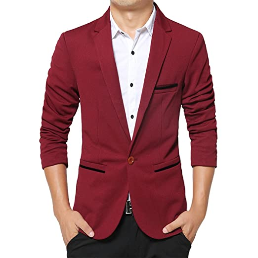 kool classic men\u0027s casual regular suits one button flap pockets  kool classic men\u0027s regularsuits casual one button flap pockets solid blazer burgundy tag xl\u003dus