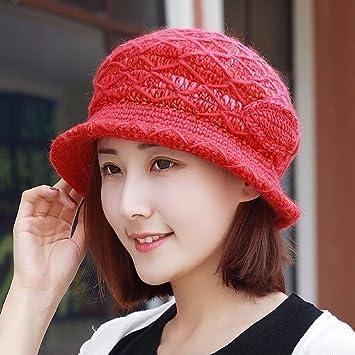 XINQING-MZ Sombrero de otoño e Invierno Mujer anciana Madre de Terciopelo Grueso Borde de