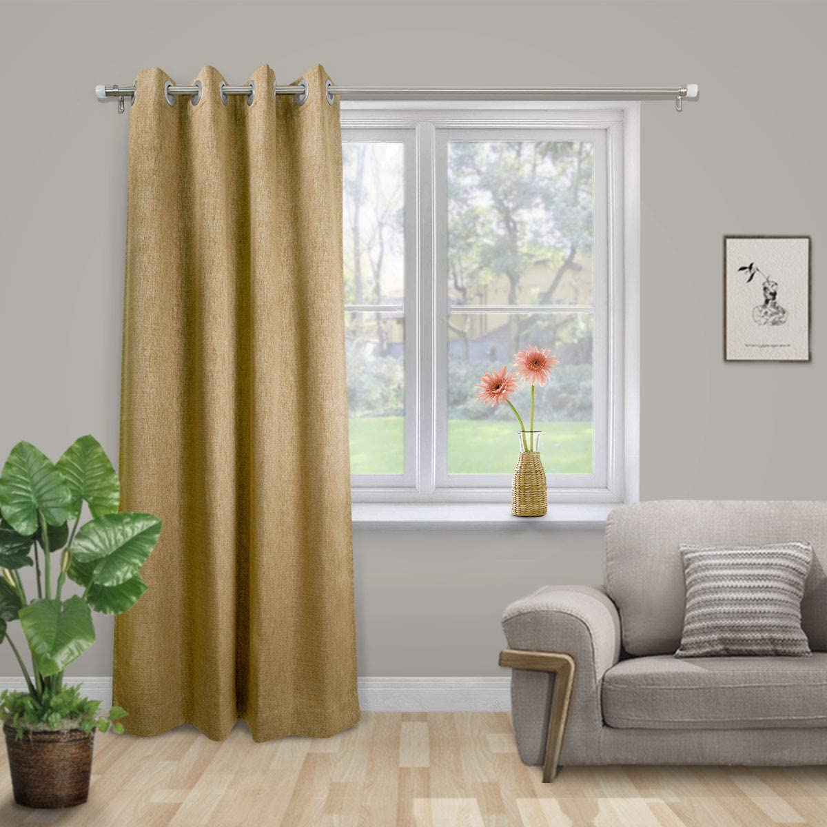 SCHRLING Blackout Gold Grommet Top Textured Curtain for Bedroom Linen Look Thermal Insulated Drape,1 Panel 52 W X 84 L