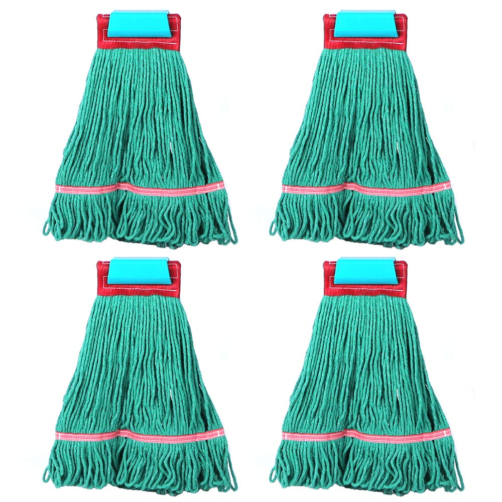 Loop-End Mop Heads Polyester Cotton 18-Inch Large, Green 4-Pack by QIPENG (Image #2)
