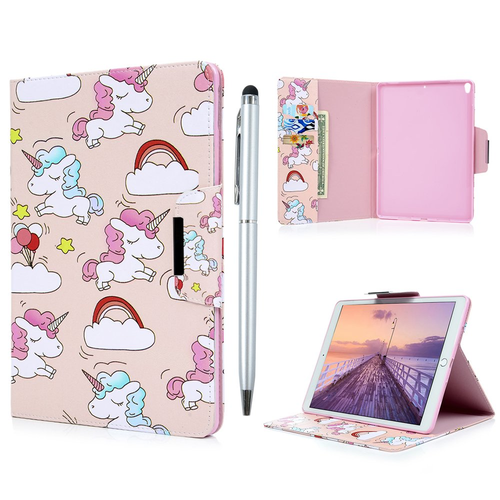 iPad Pro 10.5 Case,Badalink 2017 Release PU Leather Case [Corner Protection] Ultra Slim Case Soft TPU Bumper Edge Viewing Stand Flip Case for iPad Pro 10.5 (2017) Magnetic Closure Full-Protection Grip Shell with Auto Wake & Sleep Function,Unicorn