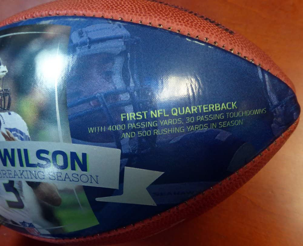 Russell Wilson Autographed 2015 Record Breaking Season Leather Football Seattle Seahawks RW Holo Stock #107493