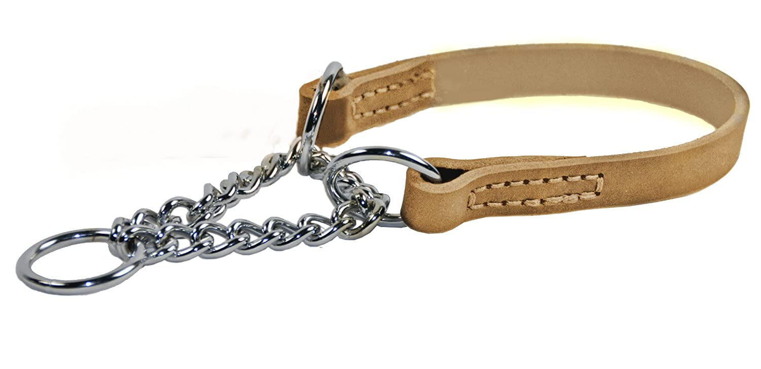 Dean and Tyler Leather Martingale , Dog Choke Collar with Chrome Plated Steel Chain Tan Size 18-Inch by 3 4-Inch Fits Neck 16-Inch to 18-Inch
