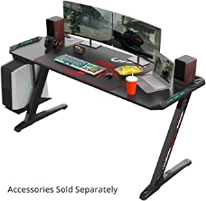 EUREKA ERGONOMIC Z60 Gaming Desk 60'' Z Shaped Large PC Computer Gaming Desks Tables with RGB LED Lights Controller Stand and Large Mouse Pad Adjustable Keyboard Drawers Computer Cart for Gift
