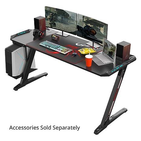 Eureka Ergonomic Z60 Gaming Desk 60 Z Shaped Large Pc Computer Gaming Desks Tables With Rgb Led Lights Controller Stand For E Sport Racing Gamer Pro