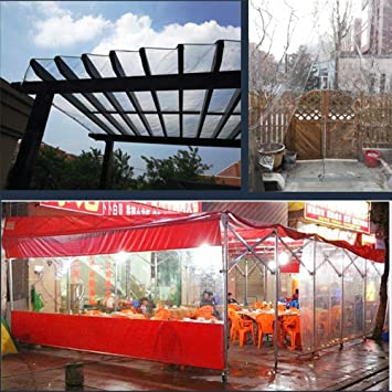Jieqiong Cubierta Impermeable de Lona, Espesar Lona Balcón Jardín Impermeable Cubierta Deflector Transparente Tela a Prueba de Lluvia Tela de plástico al Aire Libre Cortina de Lluvia: Amazon.es: Deportes y aire libre