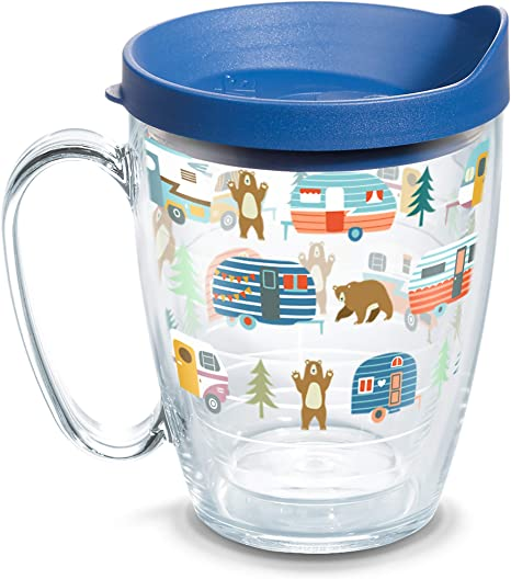 Amazon Com Tervis 1353802 Trailer Bears Insulated Tumbler With Wrap And Blue Lid 16oz Mug Clear Tumblers Water Glasses