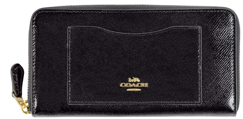 Coach Signature PVC Accordion Zip Around Wallet (Black patented)