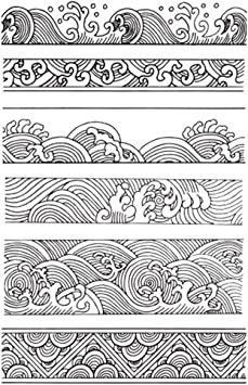 Amazon Com Chinese Japanese Retro Style Ocean Waves Borders Lines