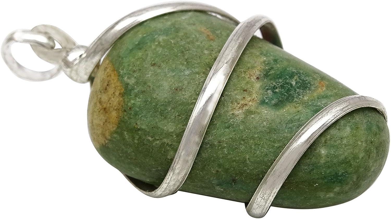 Harmonize Fuchsite Stone Wired Wrapped Reiki Healing Gemstone Pendant Spiritual Jewellery Healing