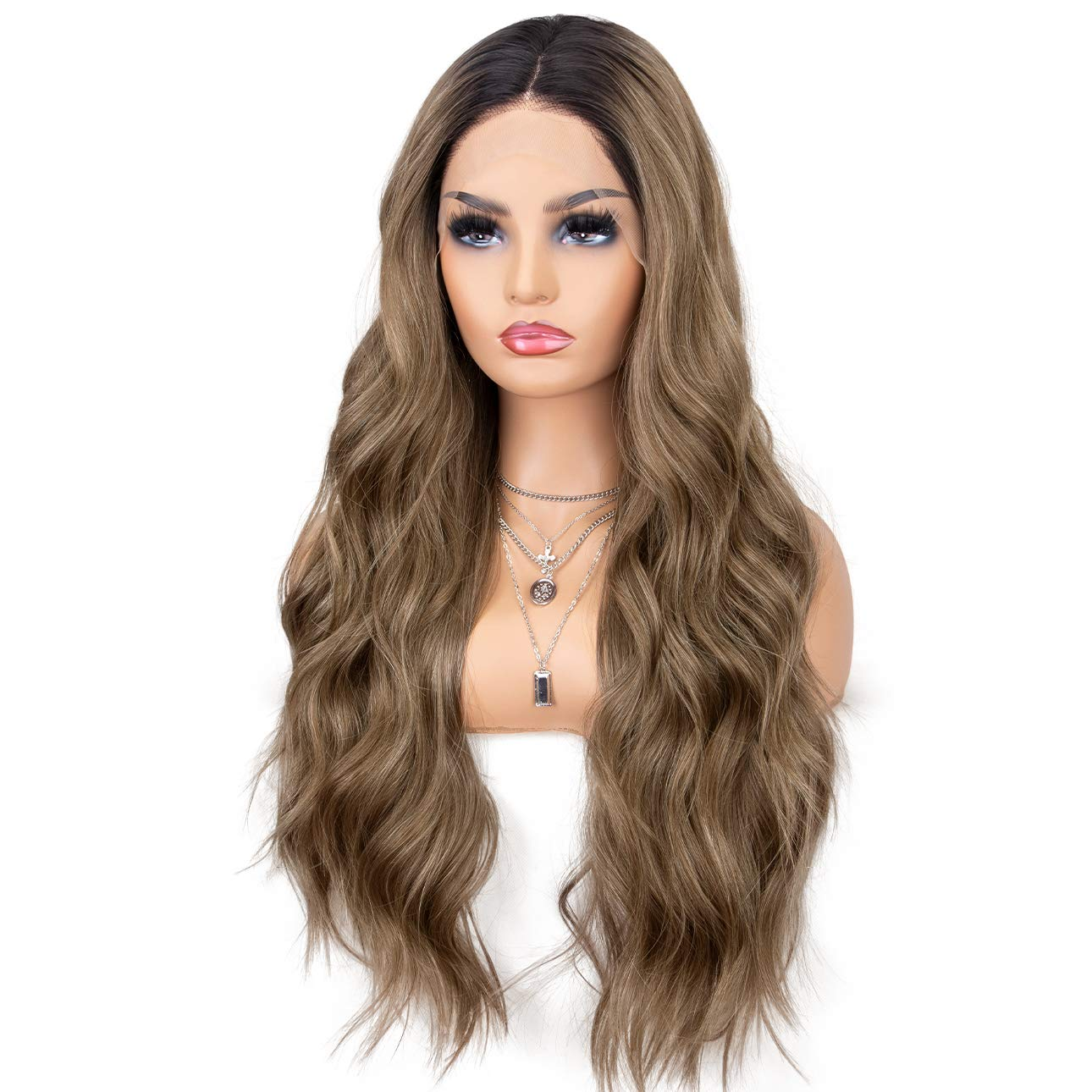 K'ryssma Brown Lace Front Wigs Ombre Dark Roots Natural Looking Glueless Long Wavy Synthetic Wig for Women 2 Tone Heat Resistant 22 inches by K'ryssma