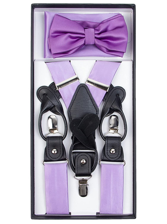 9e603fad2cbd Amazon.com: Men's Golden Yellow Solid Color Convertible Suspenders, Bow Tie  and Hanky Set: Clothing