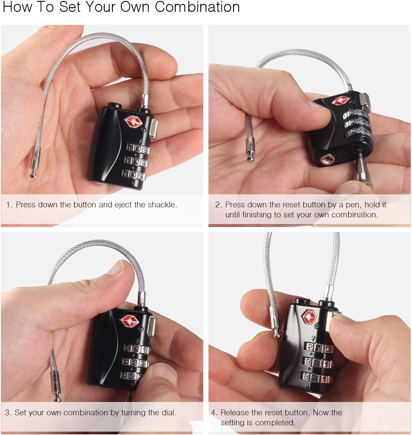 Luggage Locks 2 pieces Tags TSA Combination Lock with Retractable Steel Cable Travel Lock Suitcase Lock with 3 Digit Code