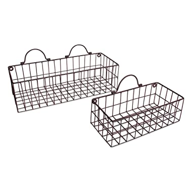 DII Z01657 Rustic Farmhouse Vintage Hanging Wall Mounted Wire Metal Basket, Set of 2 Assorted, Bronze