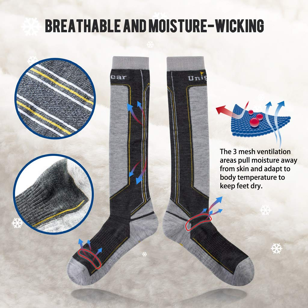 Unigear Ski Socks for Men Women Merino Wool Warm and Soft Winter Socks for Skiing Snowboarding Climbing and Cold Weather