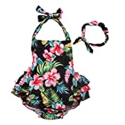 One Piece Redbub Floral Ruffles Rompers Bathing Suits Dress With Headband (Small,Black)