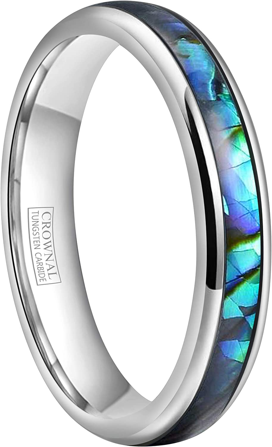 CROWNAL 4mm Abalone Shell/Turquoise Granules Inlay Tungsten Wedding Band Ring Black Silver Men Women Domed Polished Comfort Fit Size 4 to 11