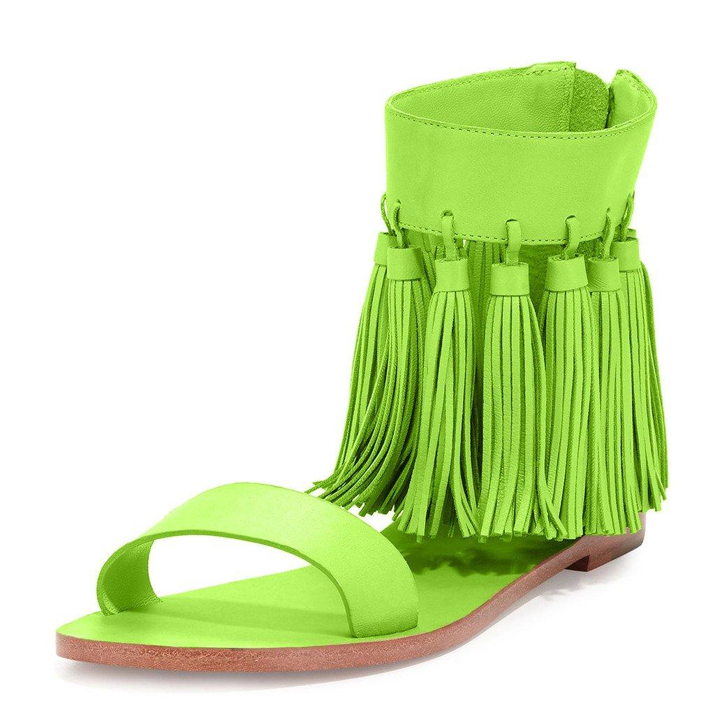 YDN Women Fringes Flats Tassels Open Toe Sandals Low-Heel Back Zipper Shoes B01EH69WXI 14 B(M) US|Yellow-green