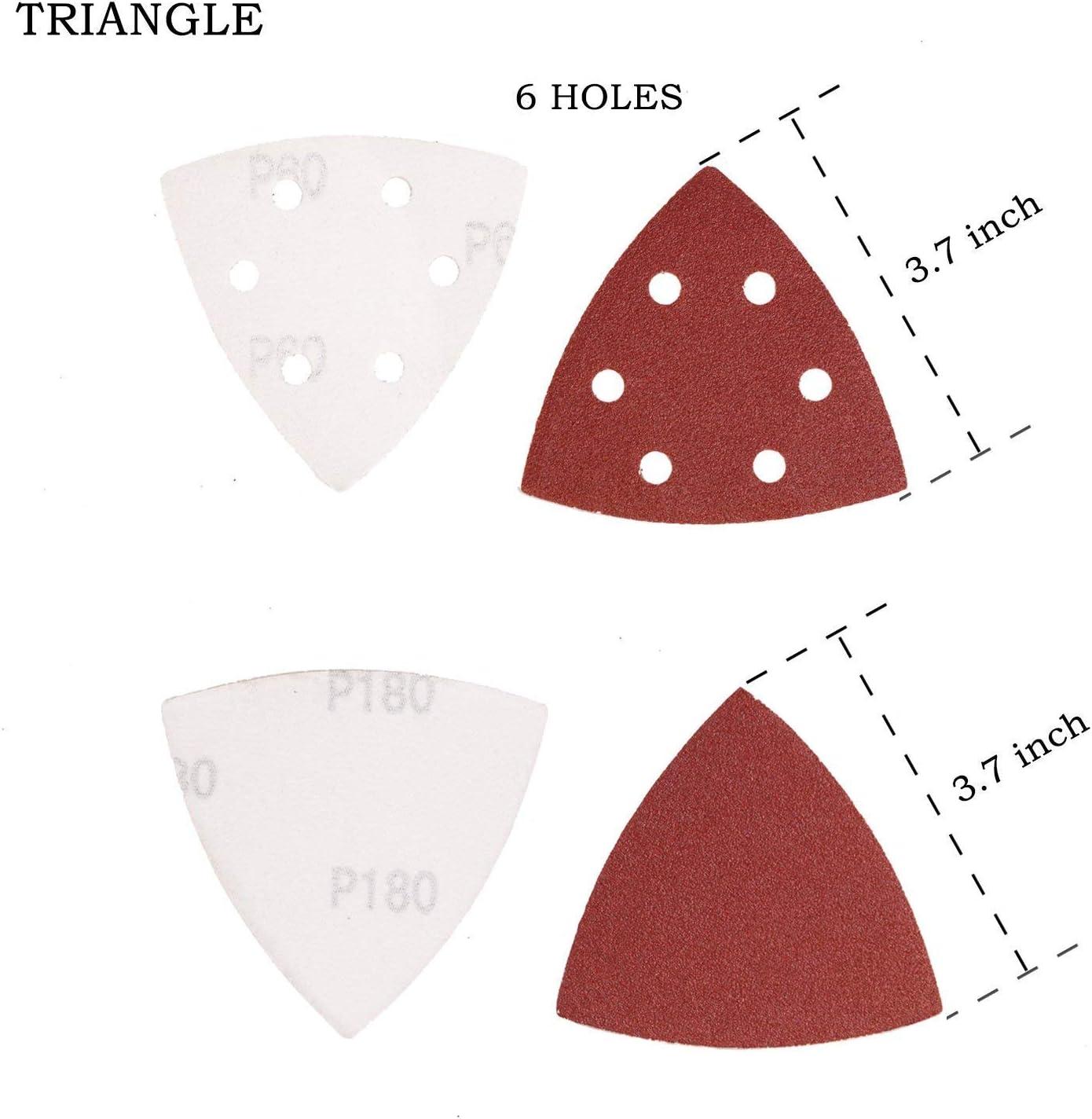 100 x Triangle Velcro Triangular Sander Sanding Triangle Delta Sander 6-Hole Grit Mixed 20 Sheets P40-P180