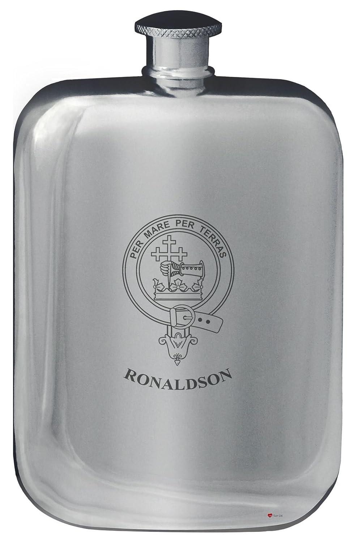 Ronaldson Crête de famille de conception de poche Flasque en étain poli 6 oz Arrondi I Luv Ltd