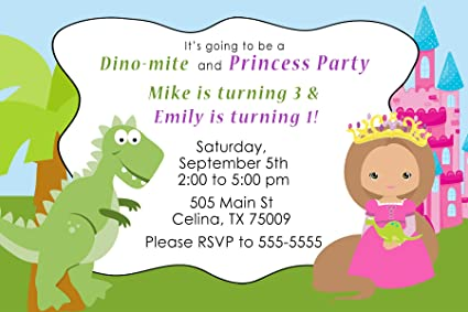 30 Invitations Green Pink Blue Dinosaur Princess Design Twins Siblings Joint Birthday Party Personalized Cards