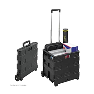Safco Products 4054BL STOW AWAY Collapsible Mobile Storage Crate, Black