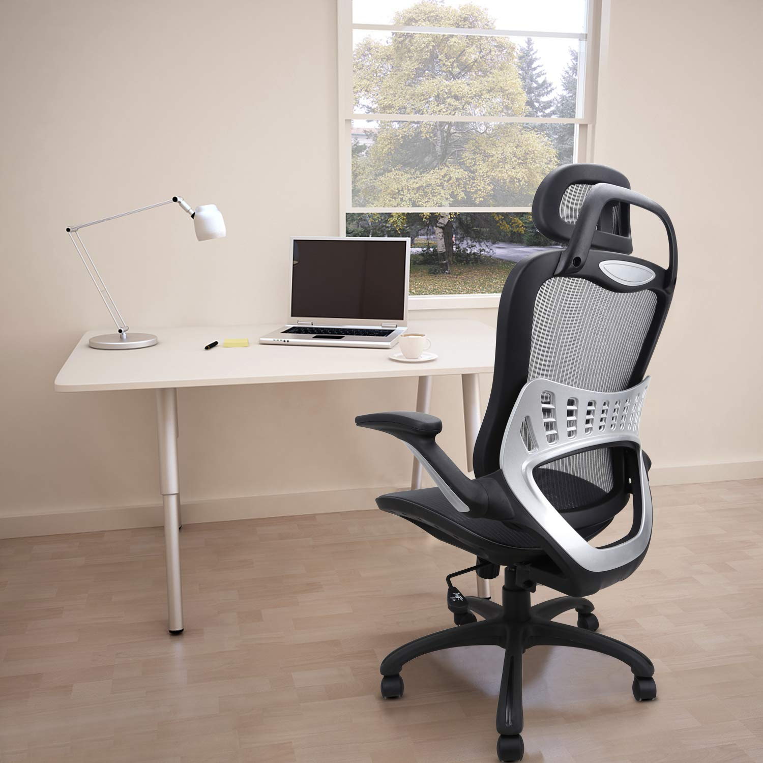 Ergonomic Office Chair: Passed BIFMA/SGS Weight Support Over 300Ibs,Breathable Mesh Cushion &High Back - Executive Chairs with Adjustable Head& Backrest,Flip-up Armrests,360-Degree Swivel Chair by Komene (Image #7)