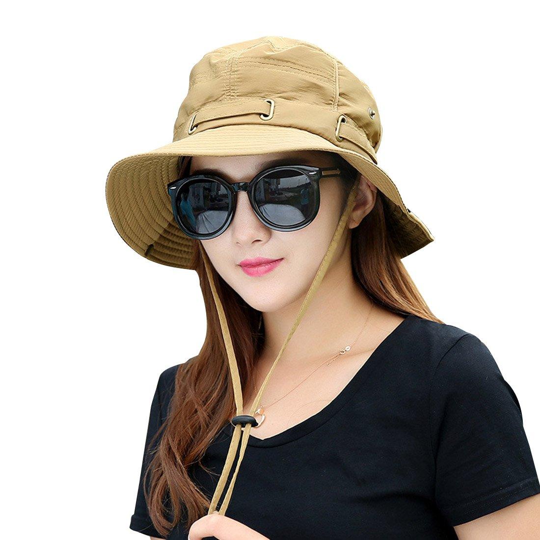 Kafeimali Summer Sun Men/Women Wide Brim UV Beach Caps Sports fishing Hats (Yellow)