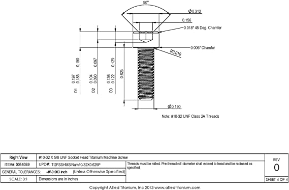 Allied Titanium 0054059, 608495001 Pack of 20 #10-32 X 5//8 UNF Socket Head Titanium Machine Screw Inc Grade 2 CP