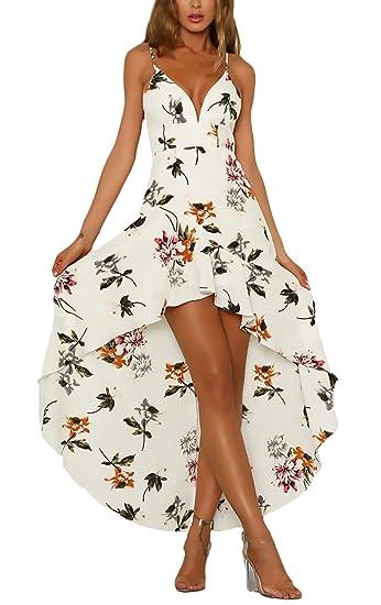 Vestidos Largos Mujer Sin Mangas V Cuello Sin Espalda Impresión Floral Irregular Asimétrica Casual Elegantes Vestido Verano Vestido Playa Vestidos Fiesta ...