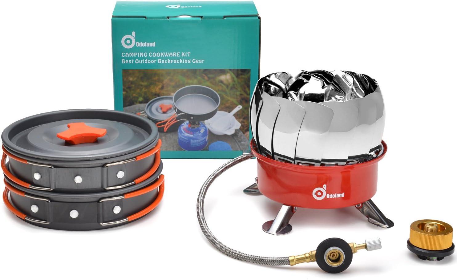 Kit Kit de camping utensilios de cocina con mini estufa de camping Kit ODOLAND Cookware que acampa Kit Mejor 1-2 Persona de efecto panor/ámico para hacer excursionismo al aire libre Senderismo Gear /& Equipos de Cocina