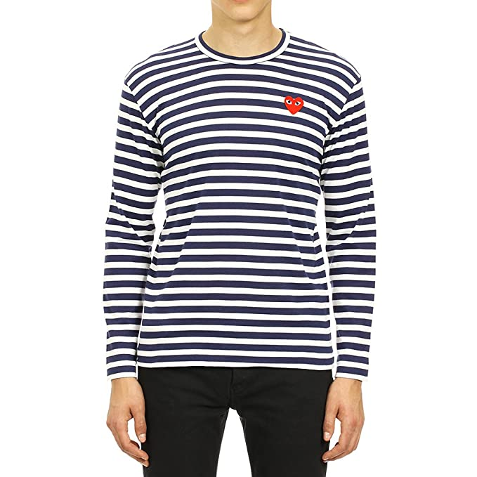 467cff80ccc7e Comme des Garcons Play Men s Red Heart Patch Striped LS T-Shirt P1T010 Navy