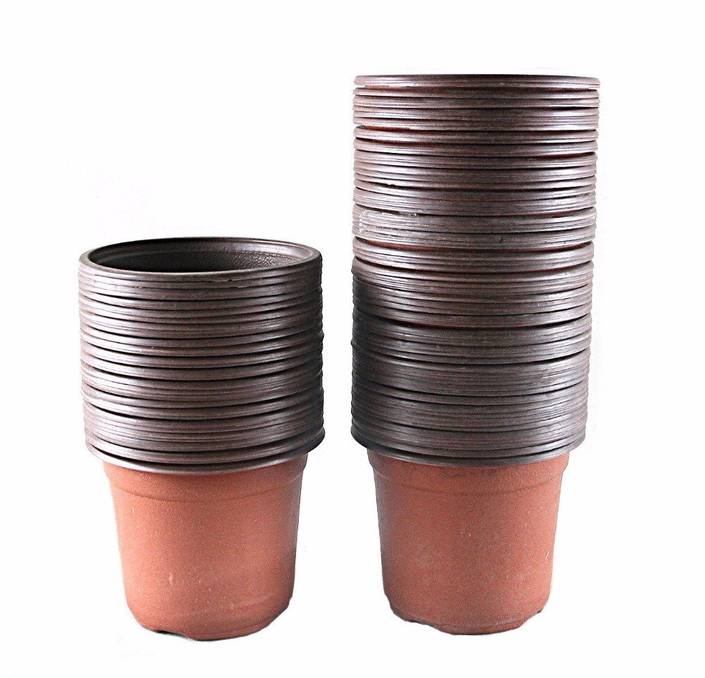 Best Garden Tools 4'' Plastic Flower Seedlings Nursery Pot/pots, 100 Pcs