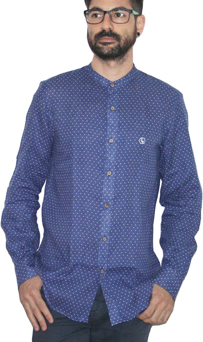 El Ganso Classic Fit Topos Lino Camisa Casual, Azul (Marino ...