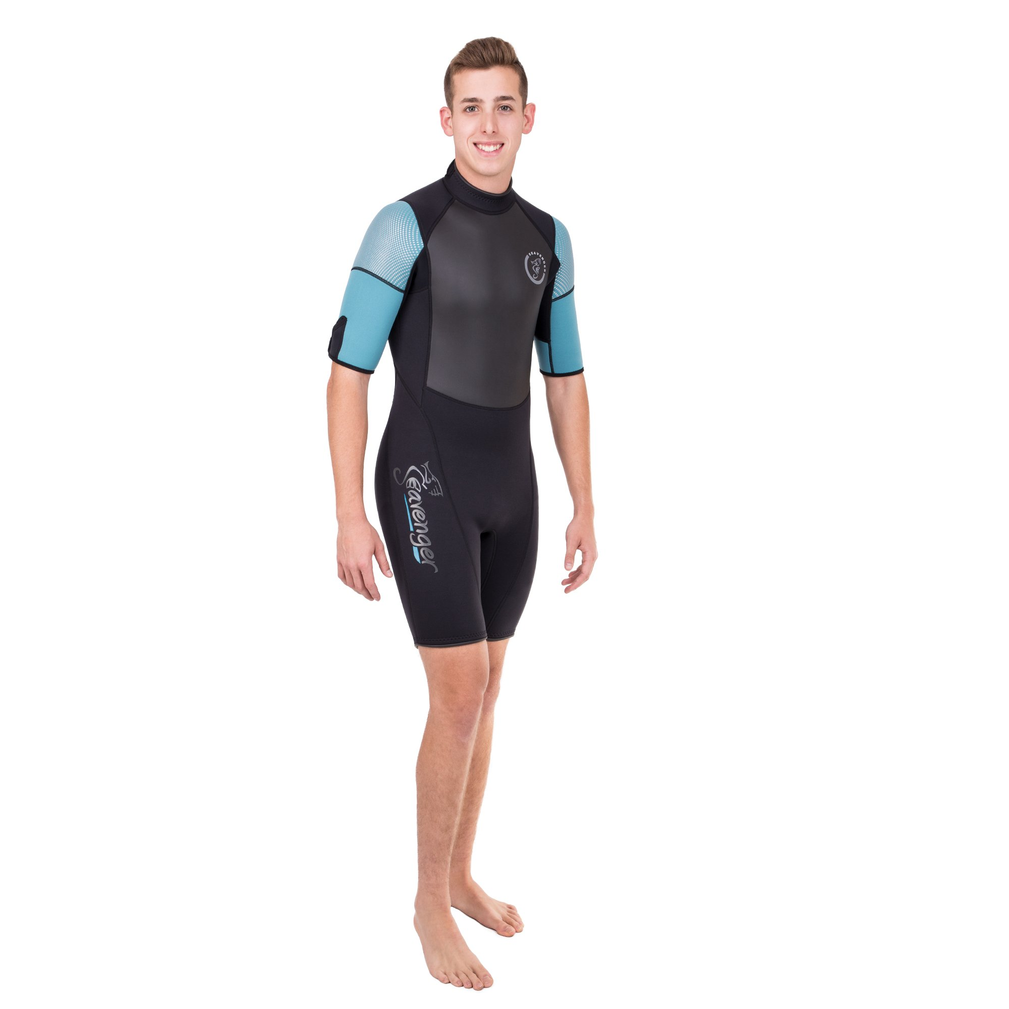 Seavenger Navigator 3mm Shorty | Short Sleeve Wetsuit for Men and Women | Surfing, Snorkeling, Scuba Diving (Surfing Aqua, Men's Small) by Seavenger (Image #2)