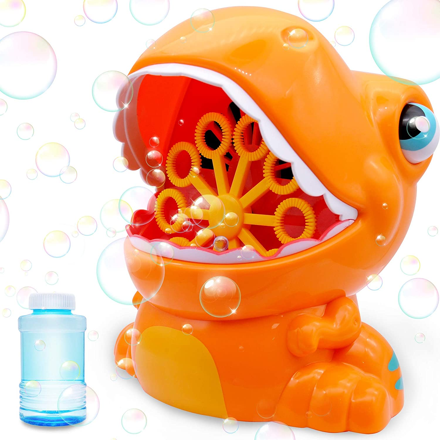 JOYIN Orange Bubble Machine Blower Bubble Maker 1000+ Bubble Per Minute for Kids, Summer Toy, Party Favor,Birthday, Outdoor, Indoor, and Easter with 2 Bubble Solutions
