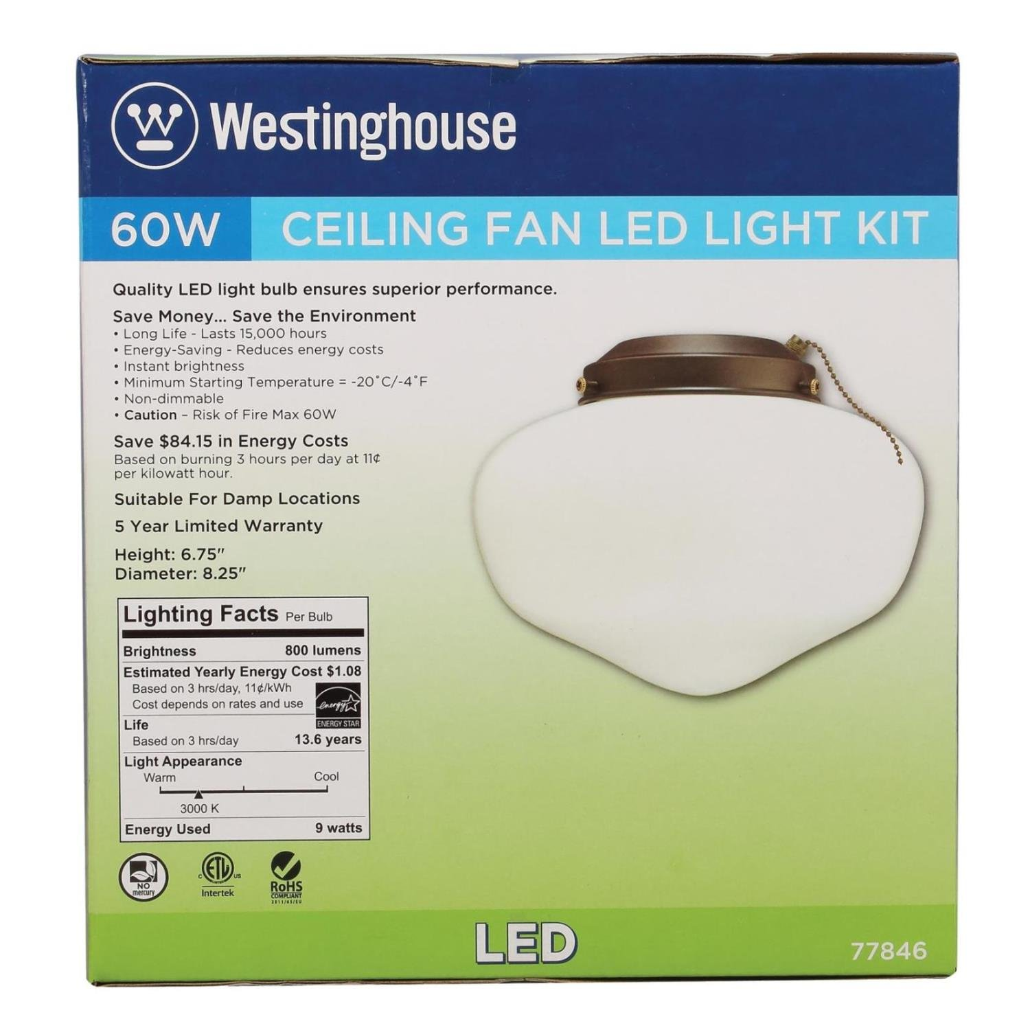 Westinghouse Lighting 7784600 LED Schoolhouse Indoor/Outdoor Energy Star Ceiling Fan Light Kit, Oil Rubbed Bronze Finish with White Opal Glass by Westinghouse Lighting (Image #4)