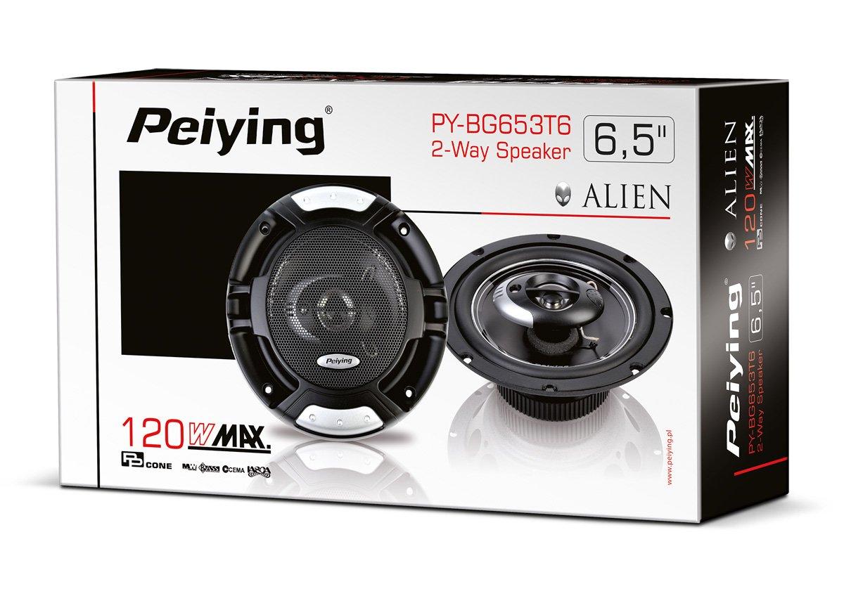 peiying PY Lot de 2 Enceintes Voiture 3 Voies bg653t6 Alien, 120 W, 16,5 cm (6,5 Pouces) Noir 120W 5cm (6 5Pouces) Noir PY-BG653T6
