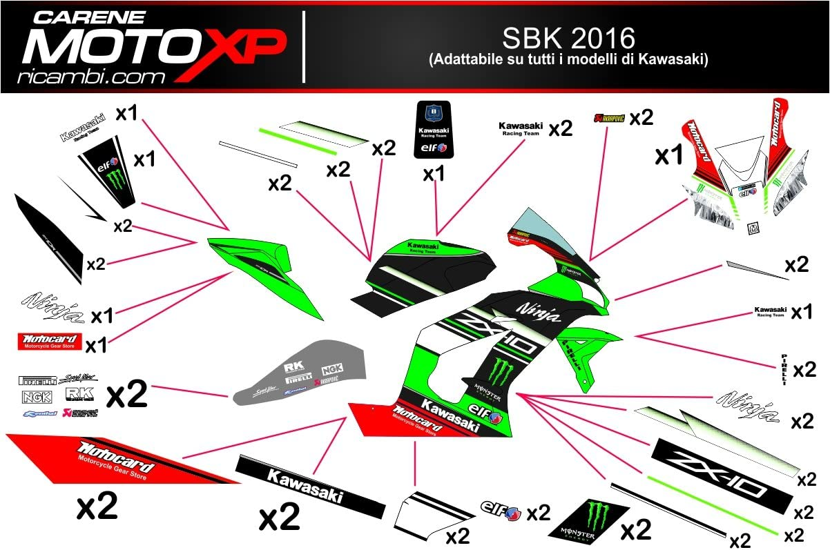 Pegatinas Adhesivos Motos Racing Kawasaki Zx10r 2016 2017 SB16VS2 ...