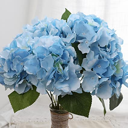Amazon e hand artificial hydrangea silk flowers blue large for e hand artificial hydrangea silk flowers blue large for wedding home party arrangements decor mightylinksfo